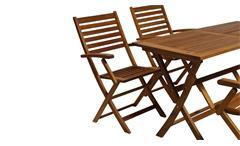 Gartenstuhl 4er-Set Stuhl Holzstuhl Akazie Massivholz mit Kissen creme 8-teilig