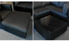 Couchtisch Hocker Polyrattan Flexi Tisch Glas Polster grau Garten Terrasse