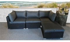 Lounge-Set Polyrattan Sitzgruppe Flexi Loungesofa Couchtisch Hocker Polster grau