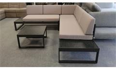 Ecksofa Loungesofa Lounge-Set Montero 3-teilig Polster beige Alu Glas Spraystone