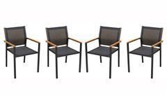 Stapelstuhl Alu Gestell Textilene In- und Outdoor 4er Set Stuhl Milena