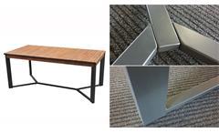 Esstisch Akazie Mangium 180 x 90 cm Metallgestell schwarz In- und Outdoor