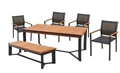 Tischgruppe Milena Tisch Stuhl Set 6-teilig Holz Metall Textilene