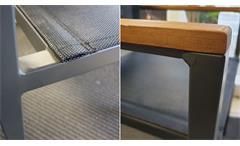 Tischgruppe Essgruppe Tisch 180x90 Akazie 4 Stapelstühle Textilene In- Outdoor