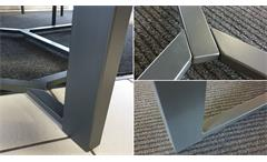 Essgruppe Tisch 180x90 Akazie 2 Sitzbänke Tischgruppe Metallgestell In- Outdoor