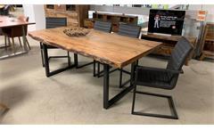 Tischgruppe Esstisch Tisch in Akazie massiv mit 4x Schwingstuhl Stuhl grau Gigi