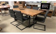 Tischgruppe Esstisch Tisch in Akazie massiv mit 6x Schwingstuhl Stuhl grau Gigi