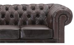 Sofa 2-Sitzer Lounge Couch Ledersofa Chesterfield in Leder braun 156 cm