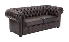 Sofa CHESTERFIELD 3-Sitzer 198 cm Echtleder braun