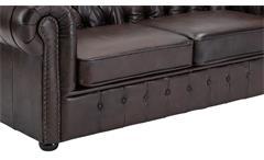 Sofa 3-Sitzer Lounge Couch Ledersofa Chesterfield in Leder braun 198 cm