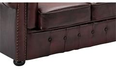 Sofa 2-Sitzer Lounge Couch Ledersofa Chesterfield in Leder rot 156 cm