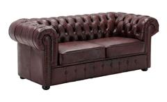 Sofa CHESTERFIELD 3-Sitzer 198 cm Echtleder rot