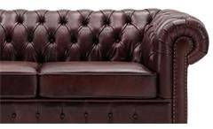 Sofa 3-Sitzer Lounge Couch Ledersofa Chesterfield in Leder rot 198 cm