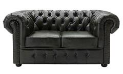 Sofa 2-Sitzer Lounge Couch Ledersofa Chesterfield in Leder grün 156 cm