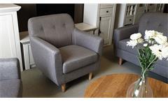 Sessel Linon Lounge Einzelsessel mit Leinenstoff in grau Buche Gestell skandinavisch