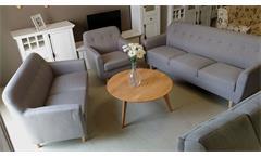 Sofa Set LINON 3-teilige Garnitur mit Leinenstoff in grau