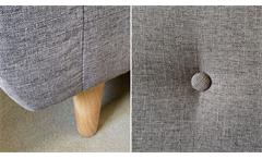 Sofa Set Linon Couch 3-teilige Polstergarnitur skandinavisch in grauem Leinen