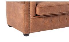 Sofa 3-Sitzer Lounge Couch Ledersofa Chesterfield in Leder cognac 198 cm