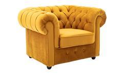 Sessel Loungesessel Chesterfield Relaxsessel Fernsehsessel Samt safrangelb 114cm