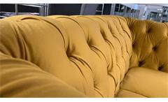 2-Sitzer Sofa Couch Chesterfield Couchgarnitur Samt safrangelb 156 cm