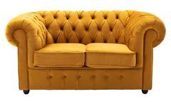 2-Sitzer Sofa CHESTERFIELD Couch Samt safrangelb 156 cm