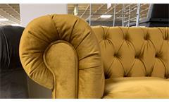 3-Sitzer Sofa Couch Chesterfield Couchgarnitur Samt safrangelb 198 cm