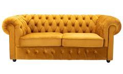 Sofa CHESTERFIELD 3-Sitzer Couch Samt safrangelb 198 cm