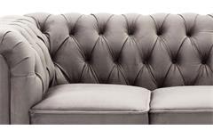 2-Sitzer Sofa Couch Chesterfield Wohnzimmer Couchgarnitur in Samt grau 156 cm