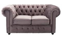 2-Sitzer Sofa CHESTERFIELD Couch in Samt grau 156 cm