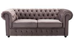 Sofa CHESTERFIELD 3-Sitzer Couch in Samt grau 198 cm