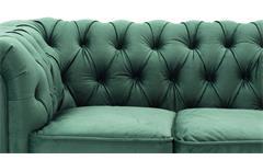 2-Sitzer Sofa Couch Chesterfield Wohnzimmer Couchgarnitur Samt dunkelgrün 156cm