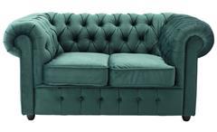 Sofa CHESTERFIELD Couch 2-Sitzer Samt dunkelgrün 156 cm