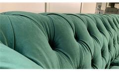 Sofa Couch Chesterfield 3-Sitzer Couchgarnitur Samt dunkelgrün 198 cm