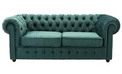 3-Sitzer Sofa CHESTERFIELD Couch Samt dunkelgrün 198 cm