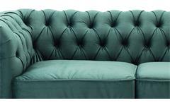 3-Sitzer Sofa Couch Chesterfield Couchgarnitur Samt dunkelgrün 198 cm