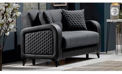 Sofa 2-Sitzer Couch River inkl. Bettfunktion Polstermöbel in dunkelgrau schwarz