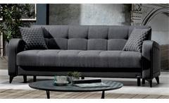 Sofa 3-Sitzer mit Bettfunktion River Couch Polstermöbel in dunkelgrau schwarz