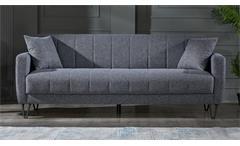 3-Sitzer Sofa Bolerno Couch mit Bettfunktion Bettkasten in grau 216x85 cm
