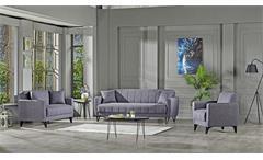 Sofa 2-Sitzer Bolerno Couch mit Bettfunktion Bettkasten in grau 146x85 cm