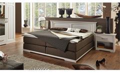 Boxspringbett Kalas Bett Schlafzimmerbett Polsterbett Kiefer massiv weiß 180x200