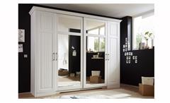 Kleiderschrank Schlafzimmer Kalas Landhaus Kiefer massiv weiß Spiegel