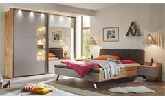 Schlafzimmer MONACO mit Spiegel Wildeiche basaltgrau 4-teilig