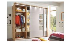 Schlafzimmer Set komplett Monaco 4-teilig basaltgrau und Wildeiche mit Spiegel