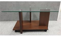 Couchtisch Glas Holz Mareike Nussbaum Dekor Wohnzimmertisch Beistelltisch 90x70