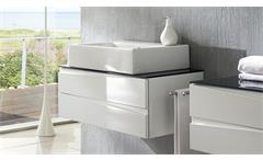 Waschtisch Sharpcut Waschbeckenunterschrank weiß Hochglanz Tiefzieh Glas grau