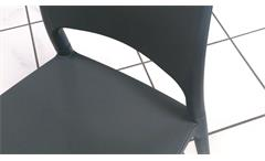Stuhl 2er Set Polly Kunststoff grau Küchenstuhl Outdoor Terrasse Balkon Garten