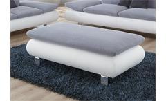 Hocker MORADO Polstermöbel in weiß grau und Chrom 130 cm