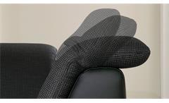 Ecksofa Isona in schwarz dunkelgrau mit Kopfteilverstellung und Armteilfunktion