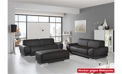 Sofagarnitur Manila Wohnzimmersofa 2er & 3er Sofa in schwarz & silber