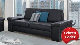 2,5-Sitzer TORTONA Sofa Leder schwarz Federkern 208 cm